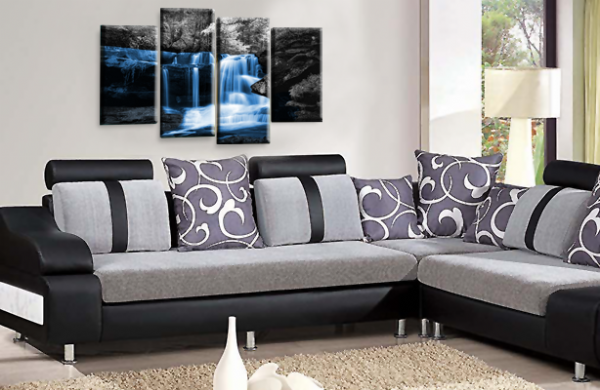 Autumn Forest Waterfall Canvas Wall Art Blue Grey Picture Print